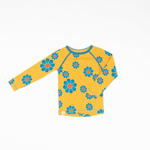Ghita blouse bright gold flower power love AlbaBaby Tops Alba of Denmark