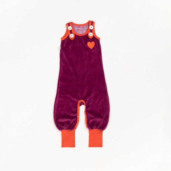 Happy crawlers boysenberry AlbaBaby Dungarees Alba of Denmark