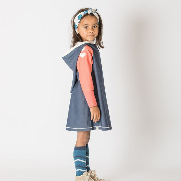 Hope hood dress mood indigo AlbaBaby