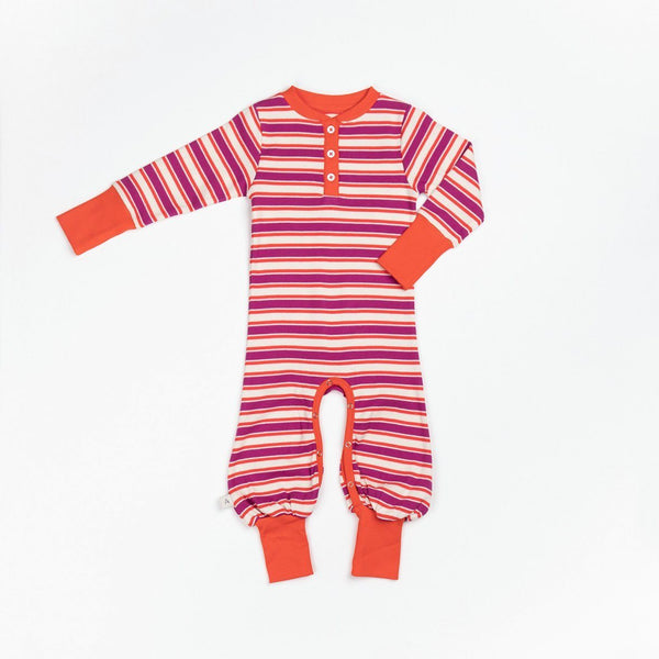 Heart playsuit boysenberry striped AlbaBaby Playsuit Alba of Denmark