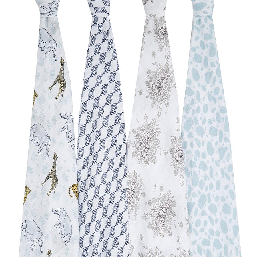 Jungle swaddle muslins - 4 pack Muslin Aden + Anais