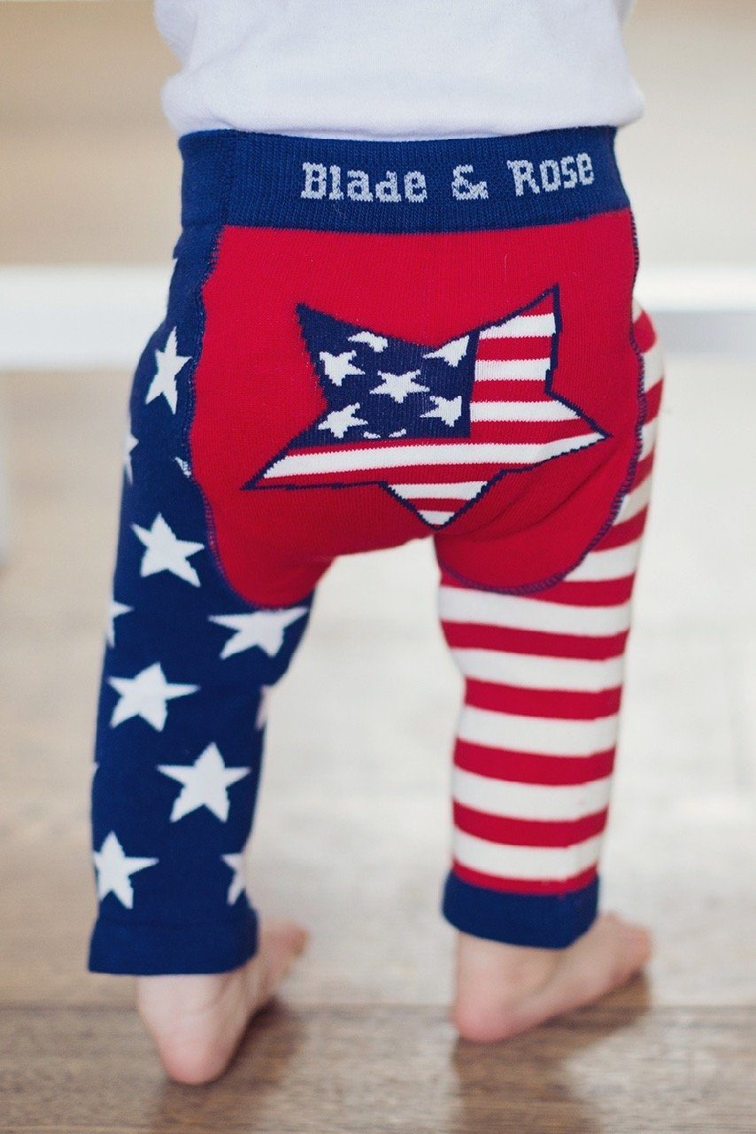 USA flag leggings Bottoms Blade & Rose
