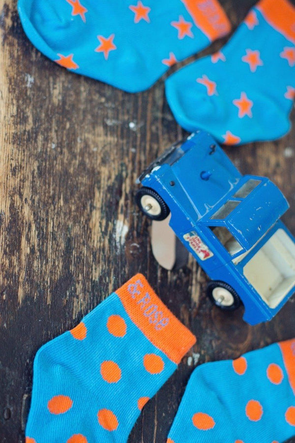 Blue & orange socks - dinosaur - 2 pack