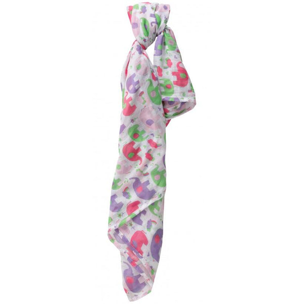 Muslin swaddle elephant - pink Muslin Piccalilly