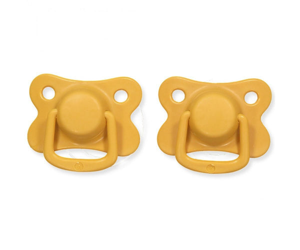 Pacifiers 2-pack golden mustard +6M Filibabba