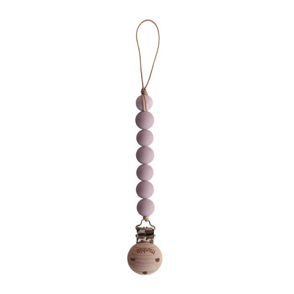 Pacifier clip Halo mauve mushie clip mushie