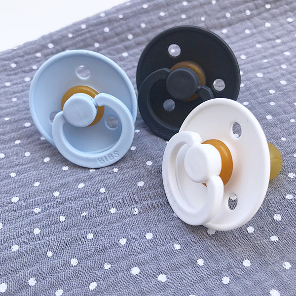 3 Bibs pacifiers + 1 grey muslin with dots