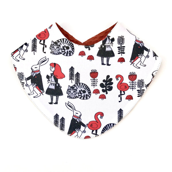 Alice in wonderland reversible bandana bib
