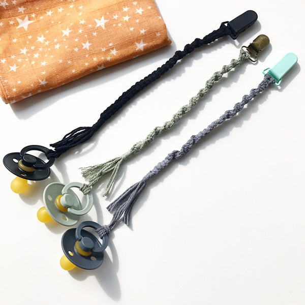 Macrame pacifier holders