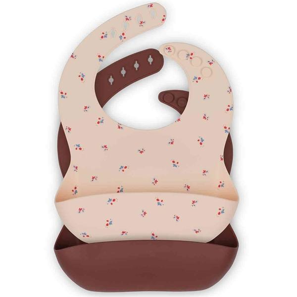 2-pack silicone bib bloom/bordeaux Konges sløjd Bib Konges sløjd