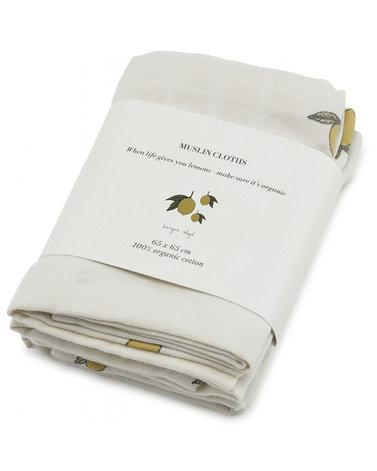 3 pack muslin cloth - lemon Konges sløjd Muslin Konges sløjd