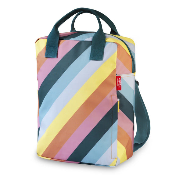 Large recycled plastic stripes backpack Engel
