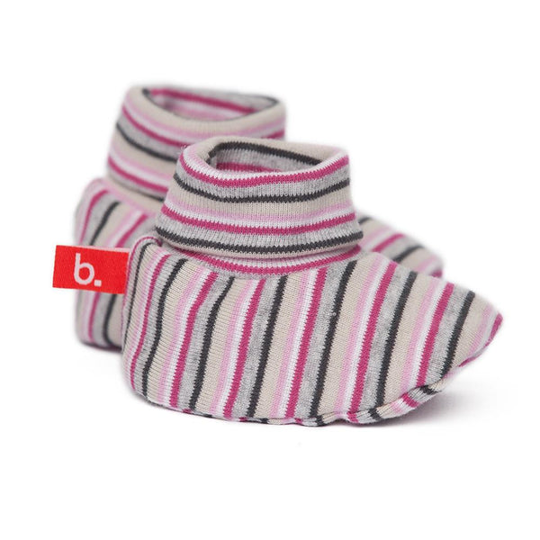 Bootees pink brown stripes
