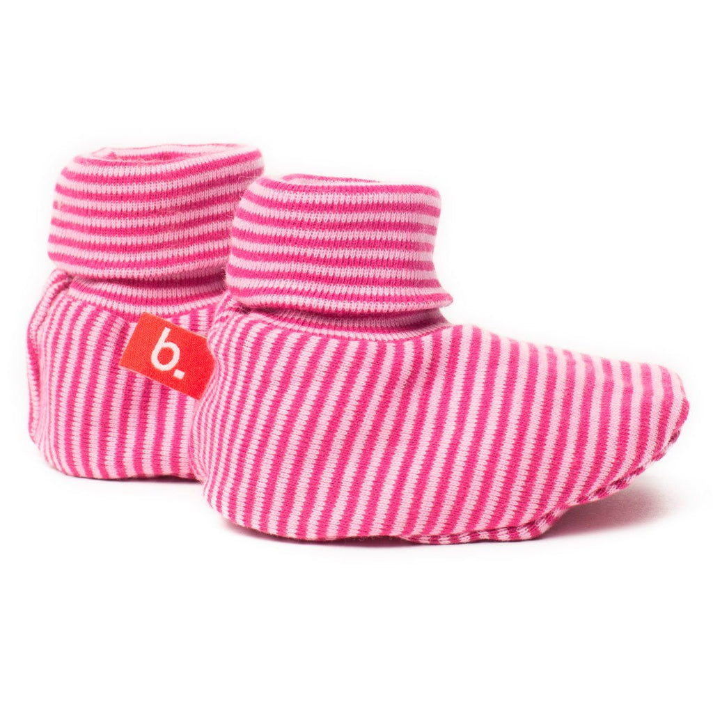 Bootees pink stripes