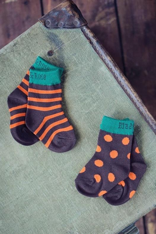 Brown, orange & green socks - 2 pack