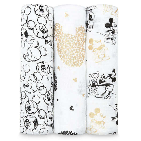 Mickey's 90th birthday muslins swaddle 3-pack