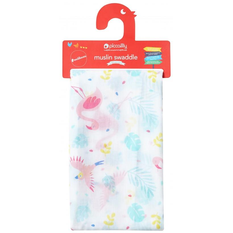 Muslin swaddle pink flamingo Piccalilly Muslin Piccalilly