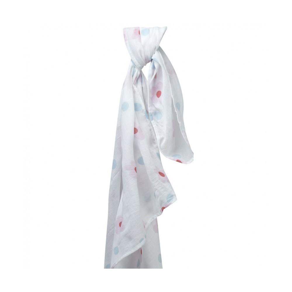 Muslin swaddle pink daisy Piccalilly Muslin Piccalilly