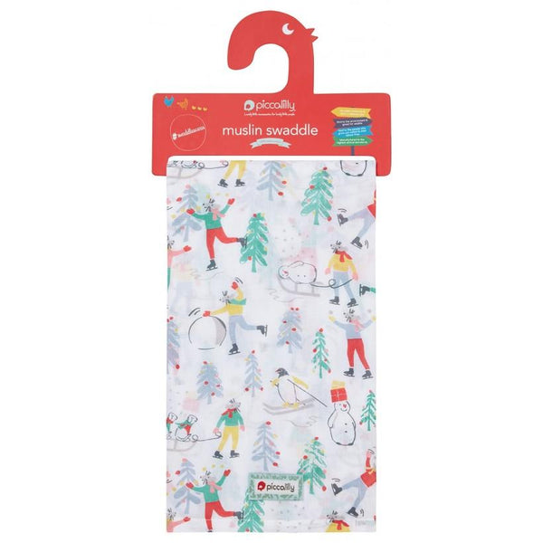 Muslin swaddle winter wonderland Piccalilly Muslin Piccalilly