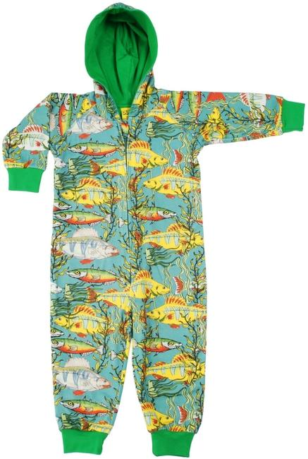 Fishes sea weed lined suit with hood teal Duns Sweden Playsuit Duns Sweden