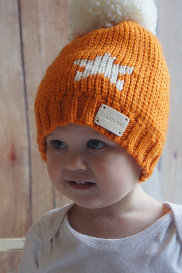 Orange star bobble hat