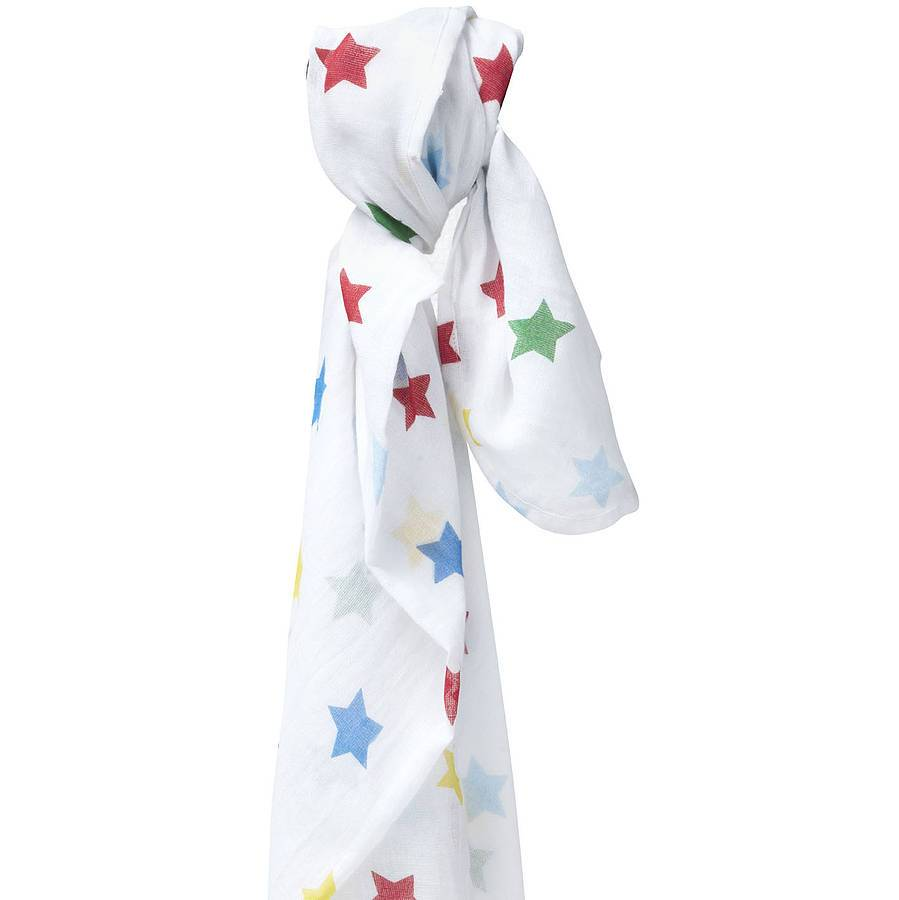 Muslin swaddle rainbow star
