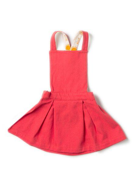 Red pinafore dress