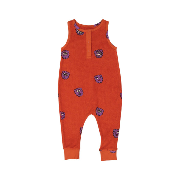 Terry long leg romper raspberry Hugo Loves Tiki Dungarees Hugo Loves Tiki