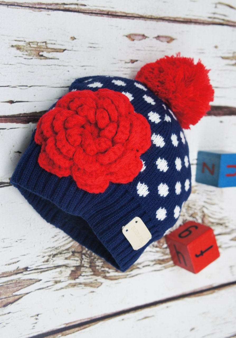 Navy & white crochet flower hat