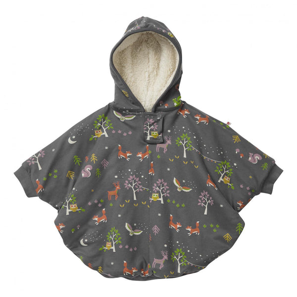 Kids poncho winter woodland Piccalilly