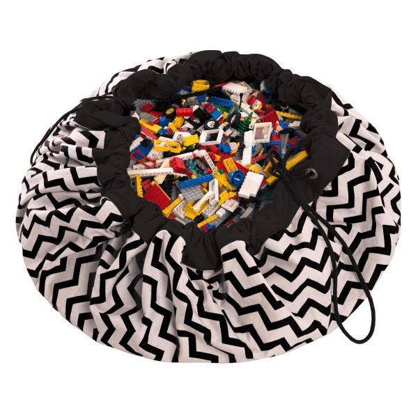 2 in 1 Zig zag black toy storage bag Play&Go