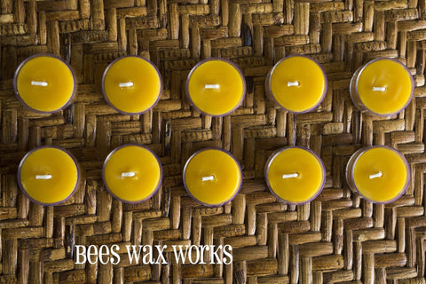 Pure Beeswax Tea Lights (10) - 12 units or more