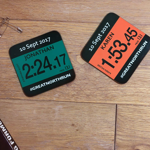 Great North Run Coaster - Commemorative gift finishers gift - Race number Design