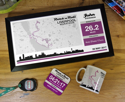 Liverpool Marathon Results 2017 - Finishers Gifts - Bundle Options - Mug, Coaster, Personalised Route Map Print