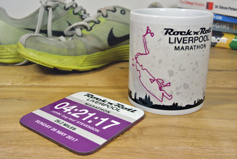 Liverpool Marathon 2017 Finishers Gift - Commemorative Mug - Route and Race Number design