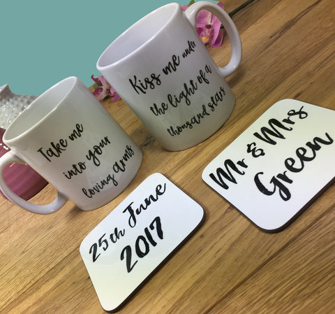 Personalised Song Lyrics Mug & Coaster Set