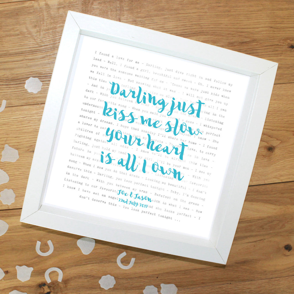 Special Our Song Lyrics Personalised Typography Print Square Framed ...