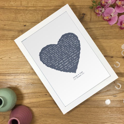 Her Favourite Song As A Vintage Heart Design Rectangular A5, A4 or A3 Framed