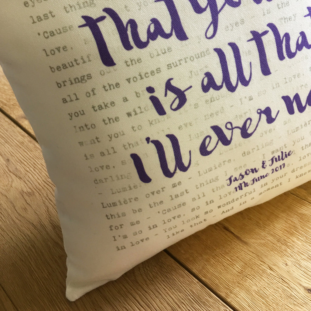 Song Lyrics Typography Printed Cushion Anniversary Valentines