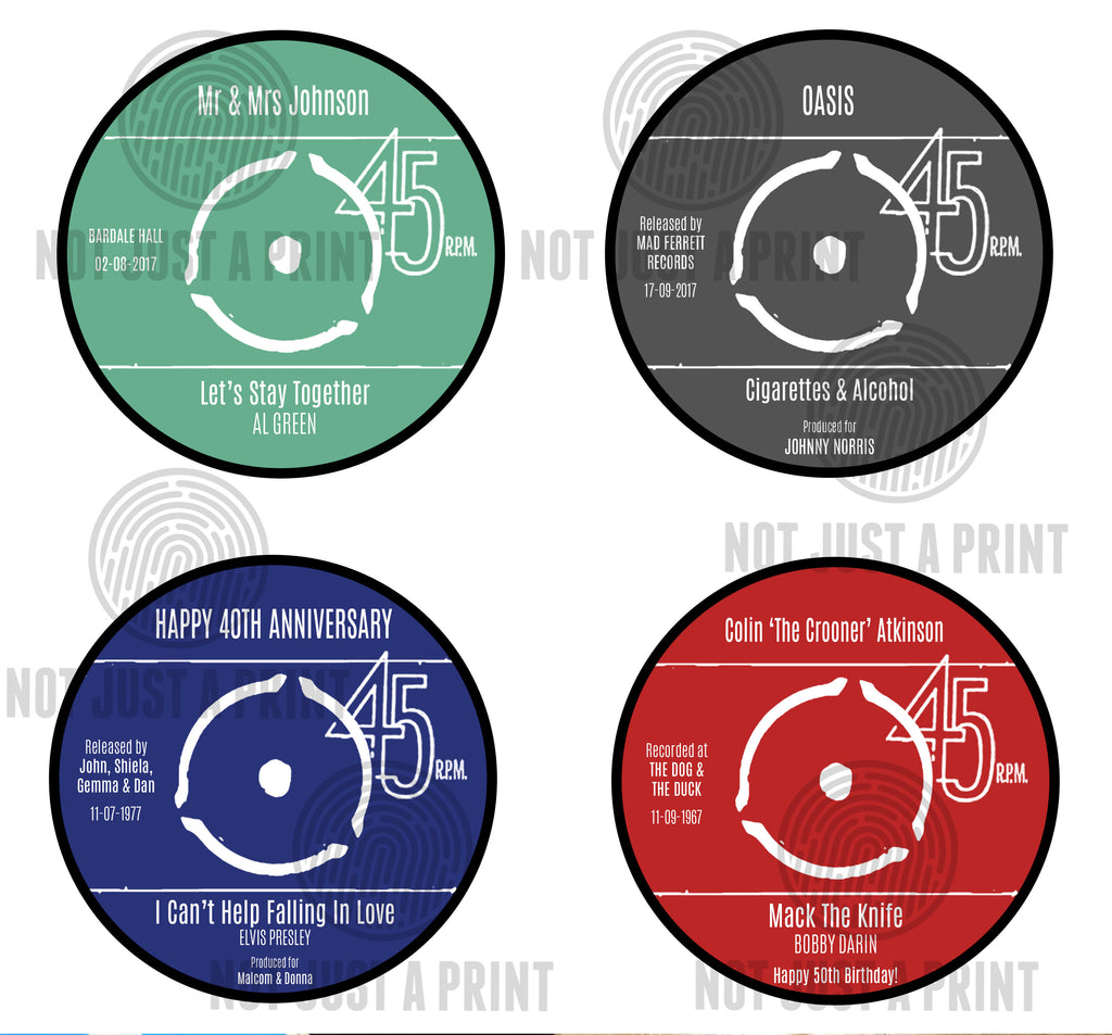 Vinyl Record Label Coaster Set Personalised Gift Pack