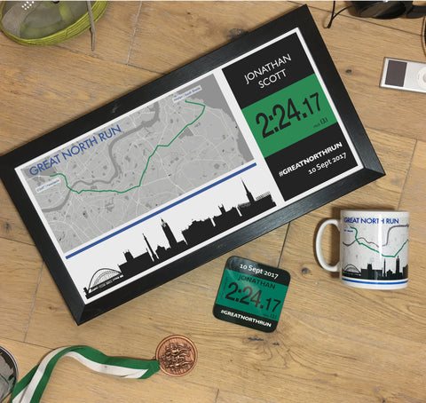 Great North Run Results 2017 - Finishers Gifts - Bundle Options - Mug, Coaster, Personalised Route Map Print