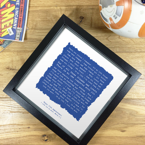 Personalised Song Lyrics Framed Print Gift for Him - Ragged Square Design