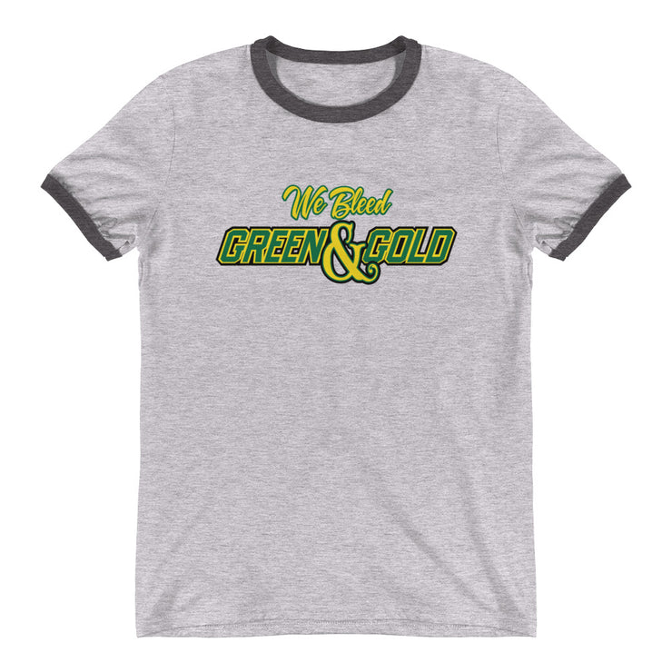 We Bleed Green and Gold Ringer Tee