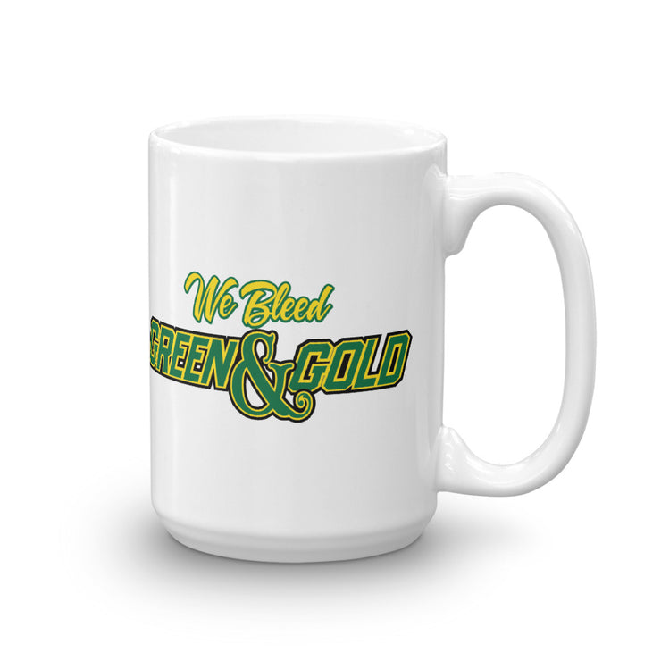 We Bleed Green & Gold White Glossy Mug
