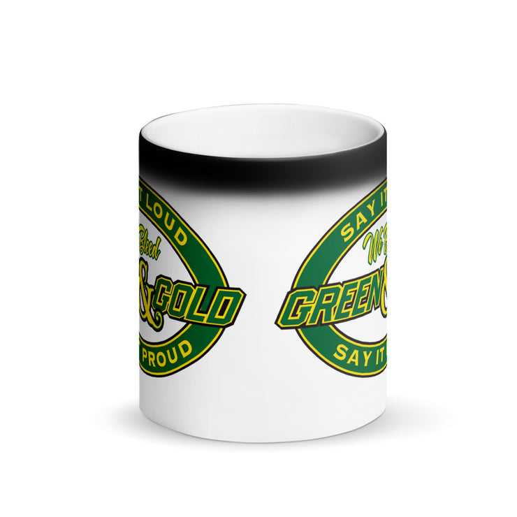 We Bleed Green and Gold Matte Black Magic Mug