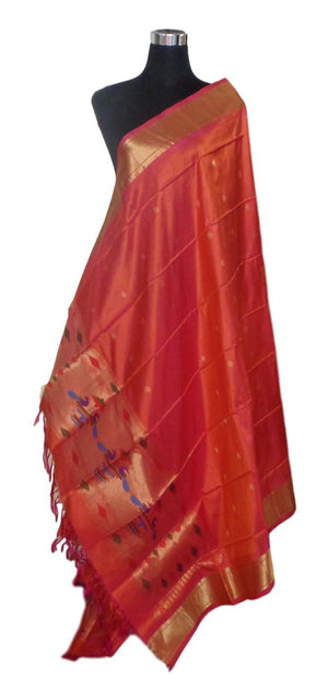 Paithani Dupatta: Pink & Orange combination