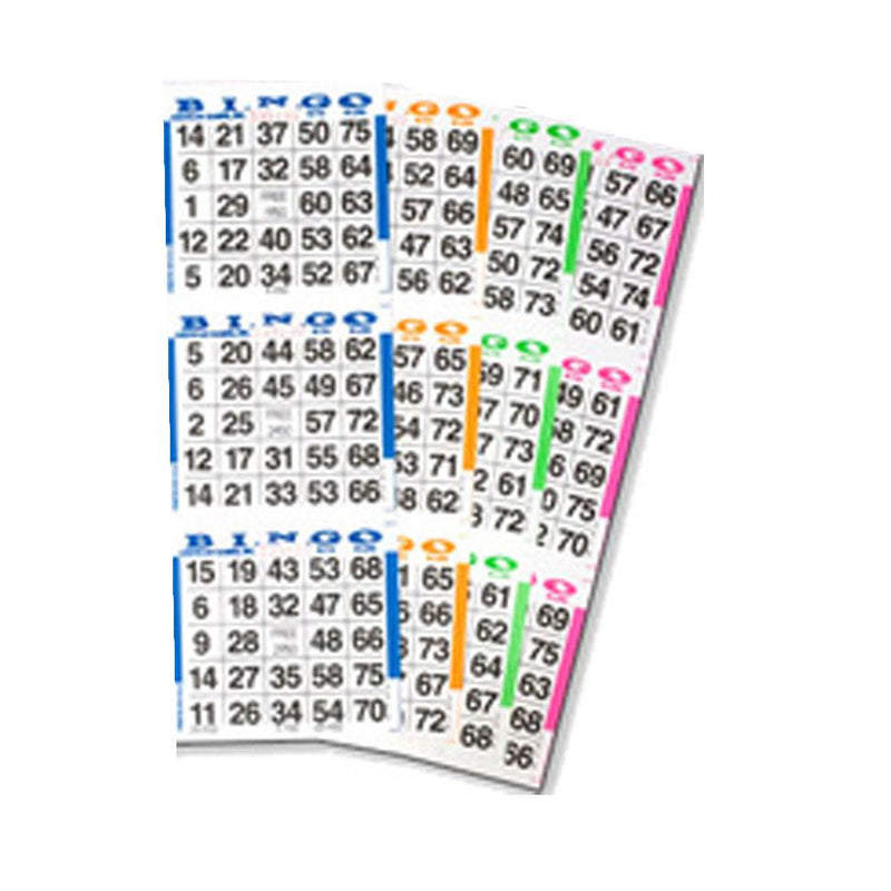 3on Vertical Fluorescent/Blacklight Bingo Paper, 5 pages - 100  Books