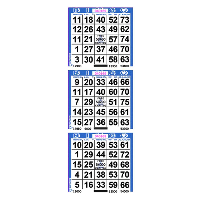 3on Vertical Bingo Paper (1000 Sheets) - CAPITOL BRAND