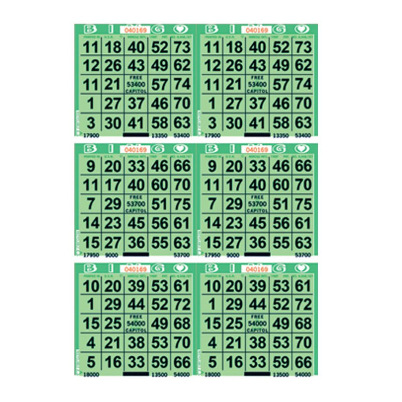 6on Vertical Bingo Paper - 1500 Sheets (Green Screen)
