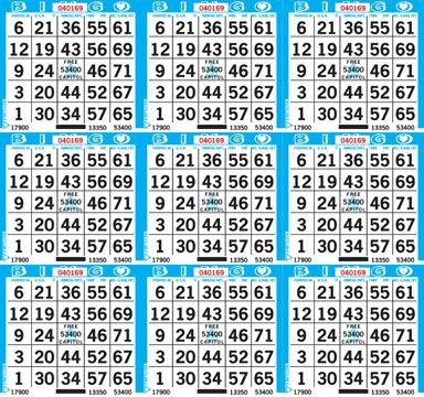 9on Square Bingo Paper -  CASE 1000 sheets (Unimax)